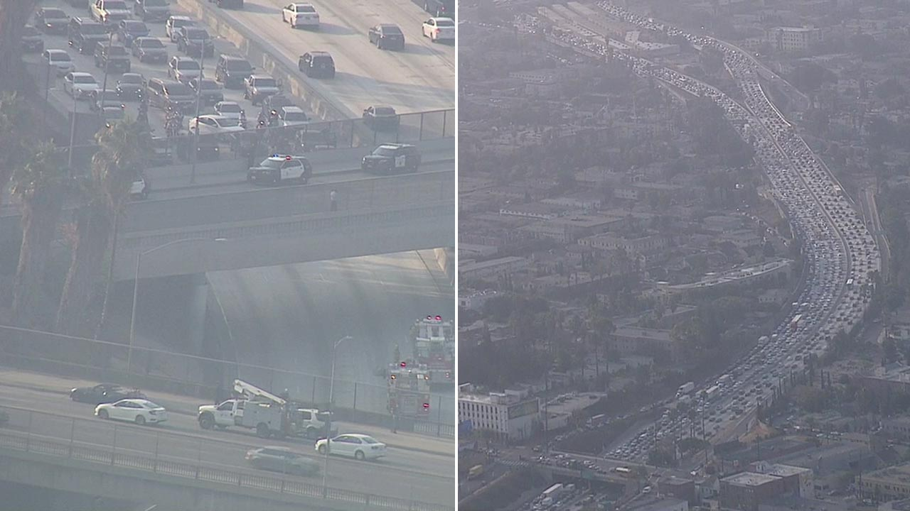 Authorities negotiated with a possible jumper on an overpass on the northbound 101 Freeway in Hollywood on Thursday, Aug. 25, 2016.