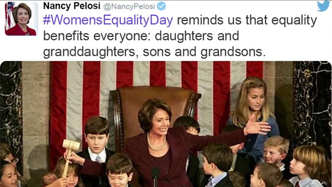 This image shows a tweet from Democratic leader Nancy Pelosi on Women's Equality Day on August 26, 2016.
