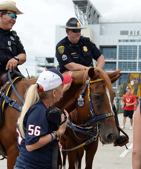"<div class=""meta image-caption""><div class=""origin-logo origin-image none""><span>none</span></div><span class=""caption-text"">Law enforcement use horses to patrol outside at NRG Stadium prior to an NFL preseason football game between the Houston Texans and the Arizona Cardinals (AP Photo/George Bridges) (AP)</span></div>"