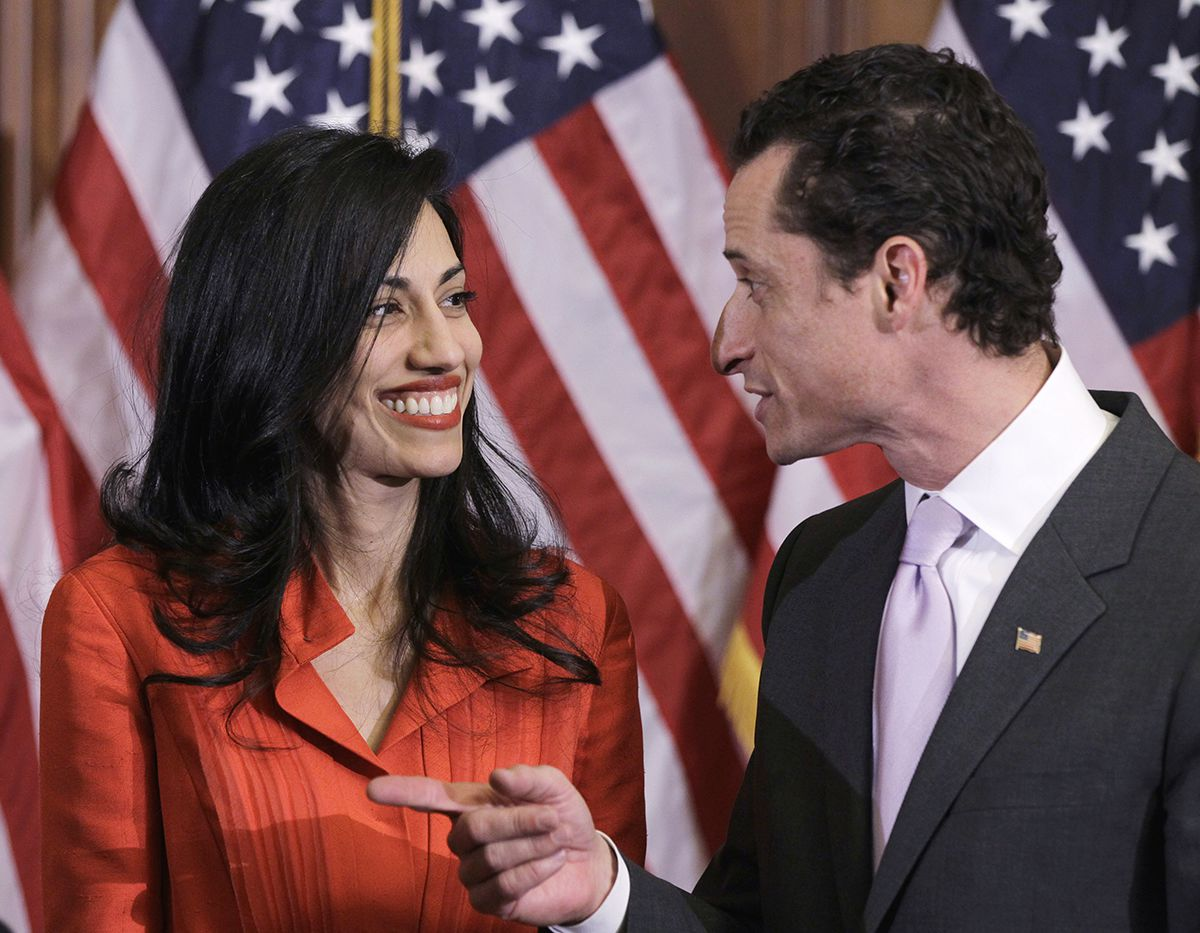 "<div class=""meta image-caption""><div class=""origin-logo origin-image ap""><span>AP</span></div><span class=""caption-text"">In this photo taken Jan. 5, 2011, then-New York Rep. Anthony Weiner and his wife, Huma Abedin, are pictured after a ceremonial swearing in of the 112th Congress on Capitol Hill. (AP Photo/Charles Dharapak)</span></div>"