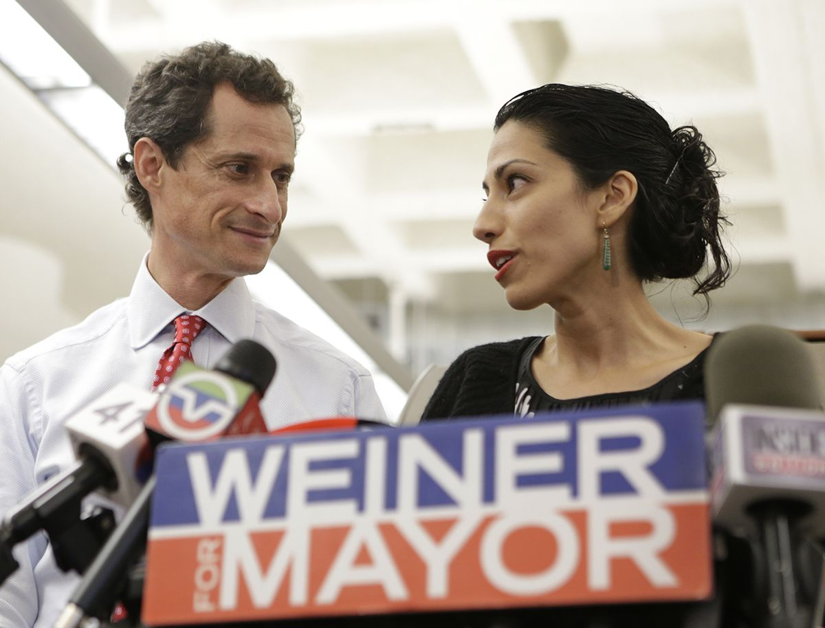 "<div class=""meta image-caption""><div class=""origin-logo origin-image ap""><span>AP</span></div><span class=""caption-text"">New York mayoral candidate Anthony Weiner, left, glances at his wife, Huma Abedin, as she speaks during a news conference Tuesday, July 23, 2013, in New York. (AP Photo/Kathy Willens, File)</span></div>"