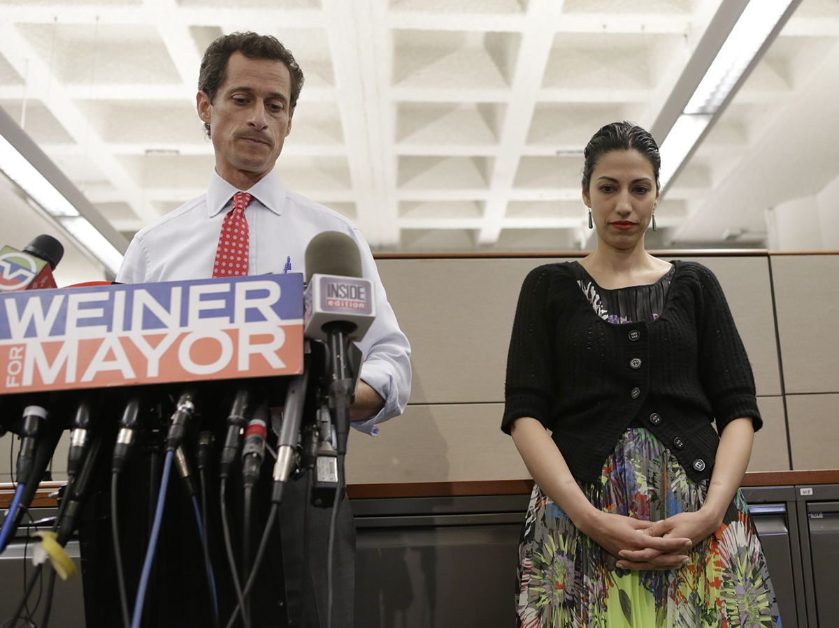 "<div class=""meta image-caption""><div class=""origin-logo origin-image ap""><span>AP</span></div><span class=""caption-text"">New York mayoral candidate Anthony Weiner speaks during a news conference alongside his wife Huma Abedin at the Gay Men's Health Crisis headquarters, Tuesday, July 23, 2013. (AP Photo/Kathy Willens)</span></div>"