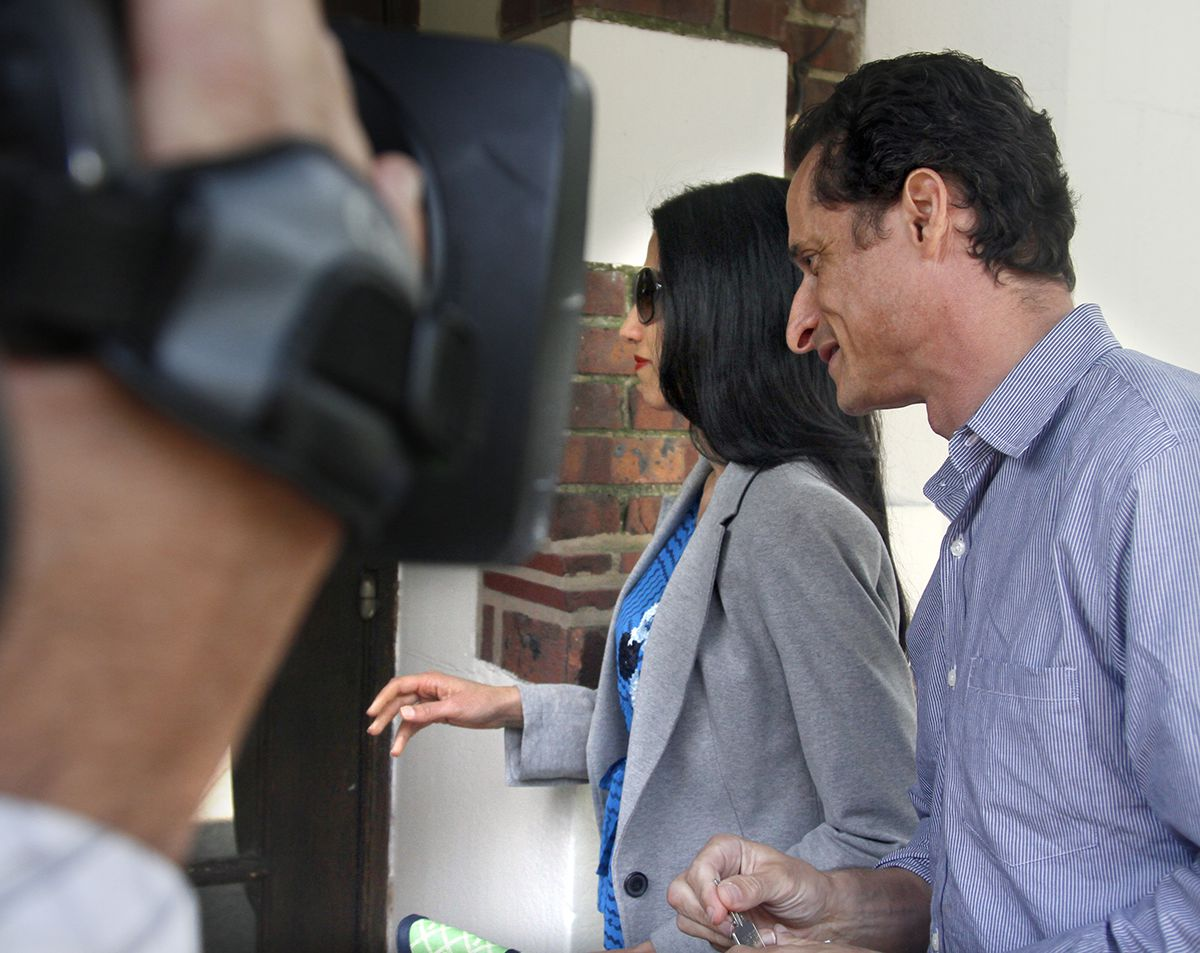 "<div class=""meta image-caption""><div class=""origin-logo origin-image ap""><span>AP</span></div><span class=""caption-text"">U.S. Rep. Anthony Weiner, D-N.Y., and his wife, Huma Abedin arrive at their home in Queens, N.Y., before he leaves for a press conference on Thursday, June 16, 2011. (AP Photo/Bebeto Matthews)</span></div>"
