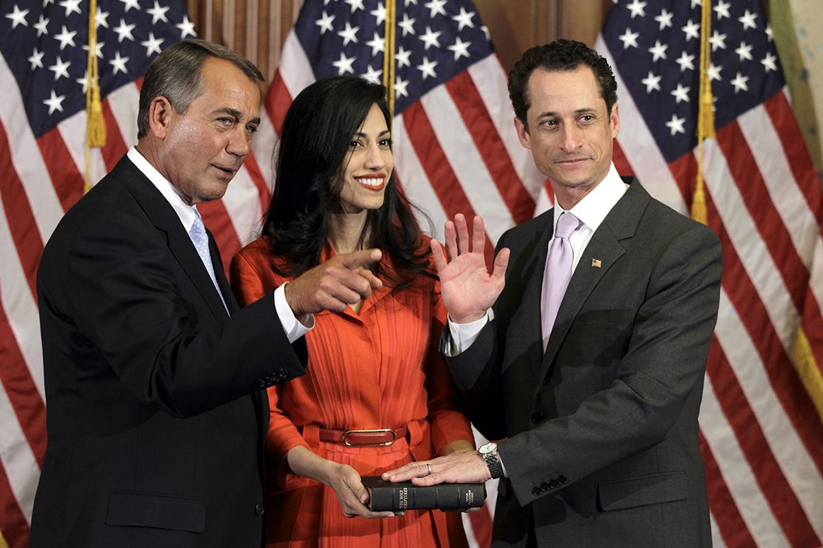 "<div class=""meta image-caption""><div class=""origin-logo origin-image ap""><span>AP</span></div><span class=""caption-text"">House Speaker John Boehner of Ohio participates in a ceremonial swearing in with Rep. Anthony Weiner, D-N.Y., as his wife Huma Abedin on Capitol Hill Jan. 5, 2011. (AP Photo/Charles Dharapak)</span></div>"