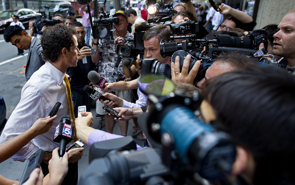 "<div class=""meta image-caption""><div class=""origin-logo origin-image ap""><span>AP</span></div><span class=""caption-text"">New York City mayoral candidate Anthony Weiner speaks to members of the news media after speaking at a New York City Housing Authority Public Hearing Wednesday, July 24, 2013. (AP Photo/Craig Ruttle)</span></div>"