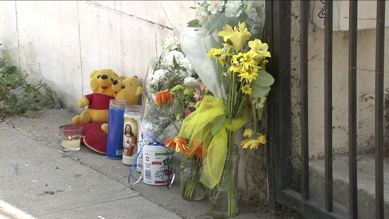 A makeshift memorial was set up for Yonatan Aguilar, 11, after he was found dead in a closet at his Echo Park home.