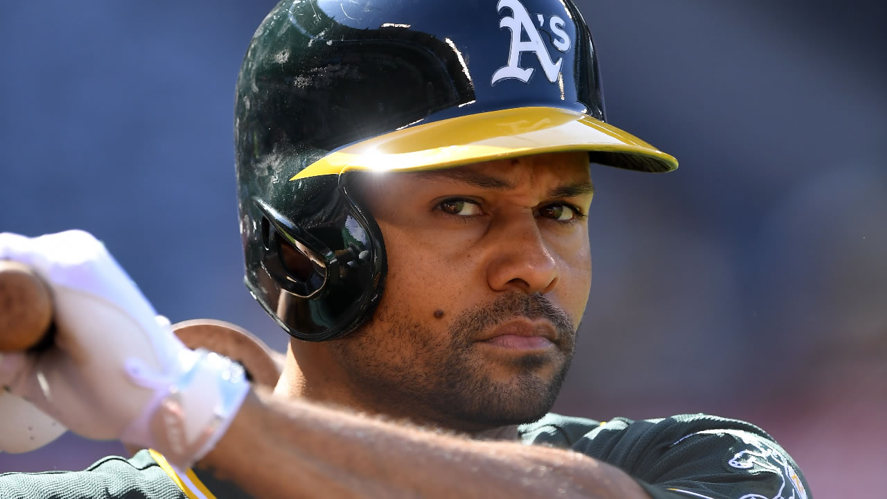 Oakland Athletics' Coco Crisp waits to bat during the first inning of a baseball game against the Los Angeles Angels, Thursday, Aug. 4, 2016, in Anaheim, Calif.
