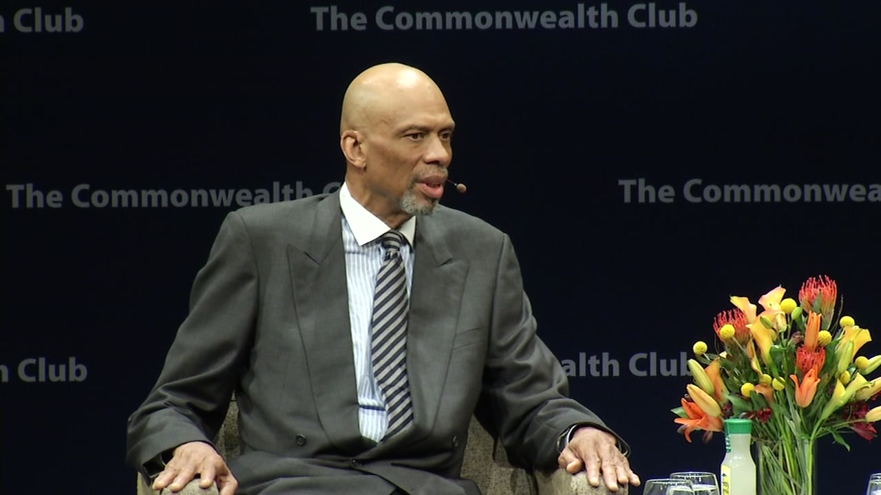 The is image shows former NBA All Star and activist Kareem Abdul-Jabbar speaking at the OCmmonwealth Club in San Francisco on Augist 30, 2016.