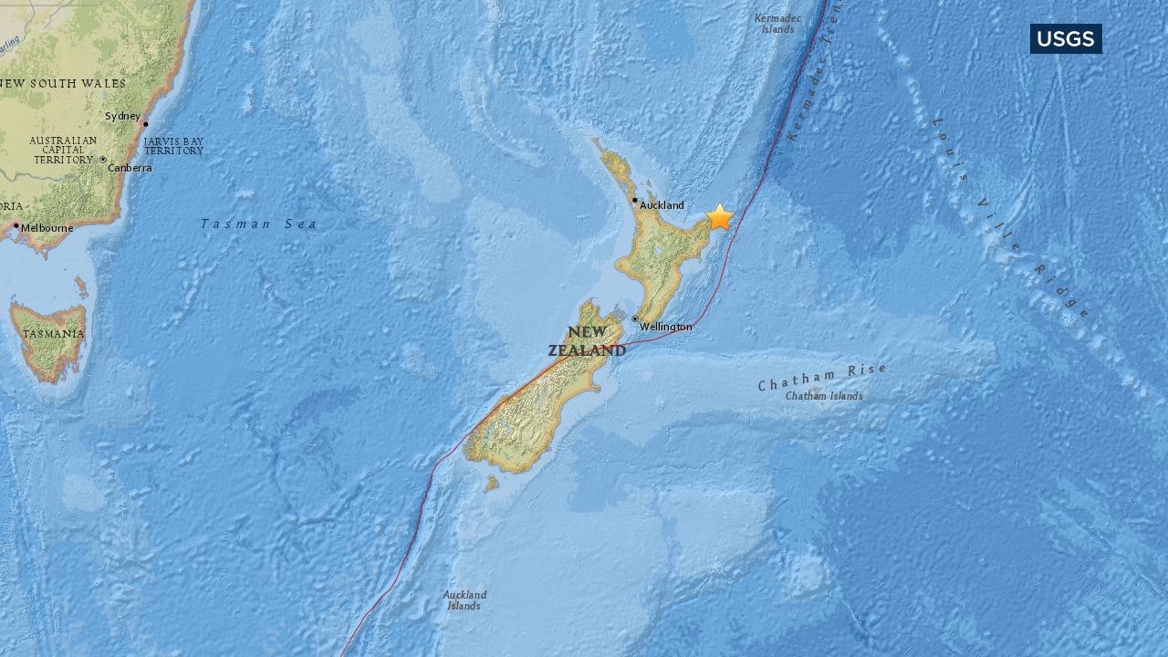 A map from the U.S. Geological Survey shows the location of an earthquake that struck off the coast of New Zealand on Thursday, Sept. 1, 2016.