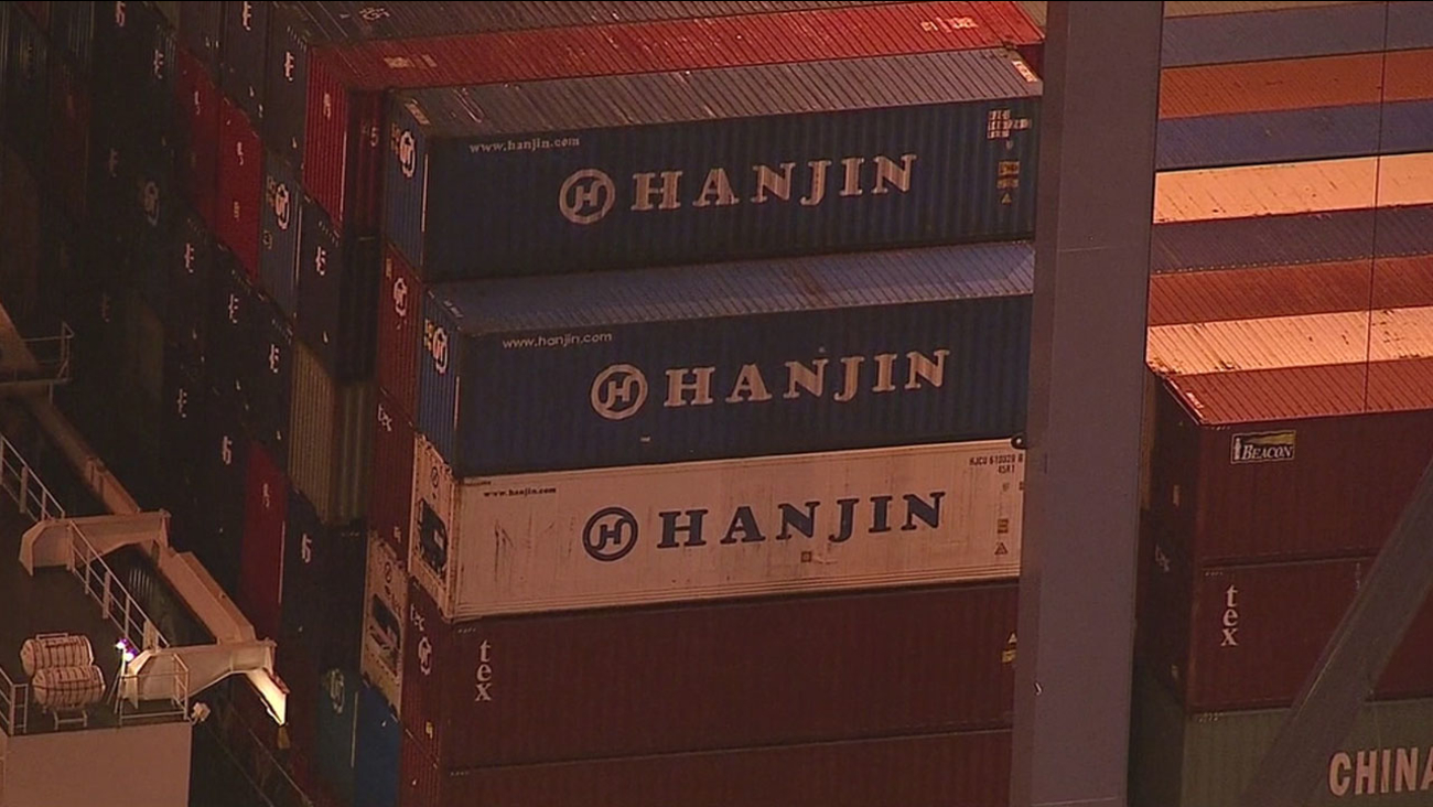 Hanjin shipping containers are shown in AIR7 HD footage taken on Thursday, Aug. 31, 2016.