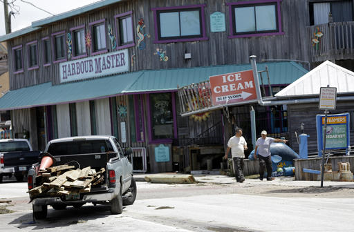 """<div class=""""meta image-caption""""><div class=""""origin-logo origin-image none""""><span>none</span></div><span class=""""caption-text"""">Gus Soldatos, left, and his father Nick, survey damage to one of the buildings they own after Hurricane Hermine passed through, Friday, Sept. 2, 2016, in Cedar Key, Fla. (AP)</span></div>"""