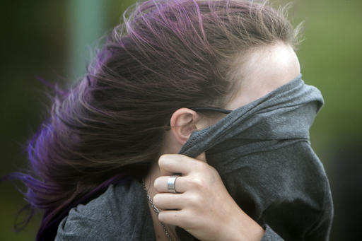 """<div class=""""meta image-caption""""><div class=""""origin-logo origin-image none""""><span>none</span></div><span class=""""caption-text"""">Ava McNally protects her face from blowing sand while walking to the beach during tropical storm Hermine, Friday, Sept. 2, 2016, on Tybee Island, Ga. (AP)</span></div>"""