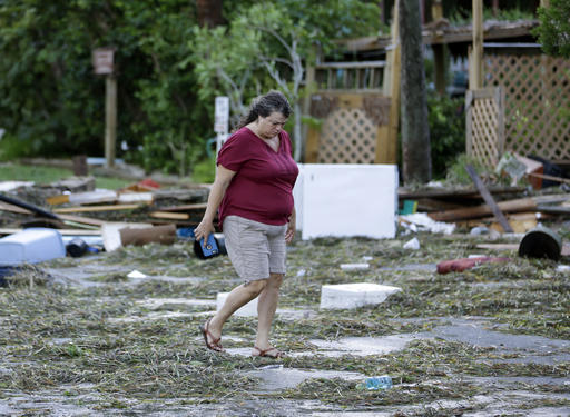 """<div class=""""meta image-caption""""><div class=""""origin-logo origin-image none""""><span>none</span></div><span class=""""caption-text"""">A resident checks on damage from Hurricane Hermine Friday, Sept. 2, 2016, in Cedar Key, Fla. Hermine was downgraded to a tropical storm after it made landfall. (AP)</span></div>"""