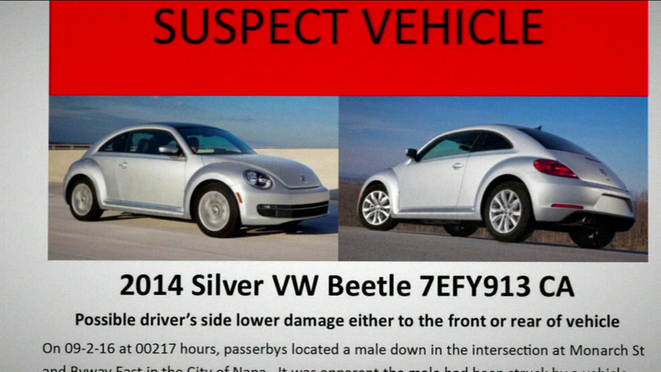 This image shows a Volkswagen Beetle that was involved in a fatal hit-and-run in Napa, Calif. on Sept. 2, 2016.