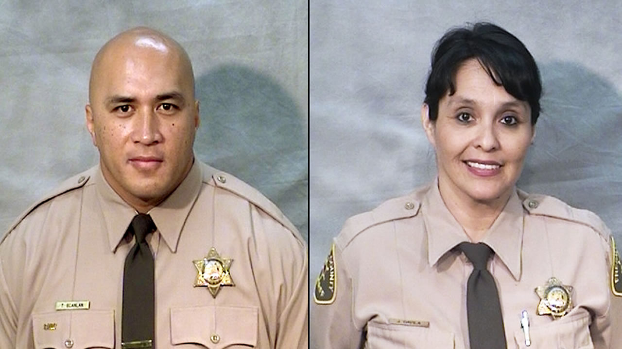 Officers Toamalama Scanlan, left, and Juanita Davila, right, were critically injured after a man opened fire in the main lobby of the Fresno County Jail in downtown Fresno, Calif.,