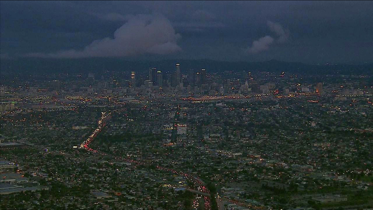 The skyline of downtown Los Angeles is captured in an undated image from AIR7 HD.