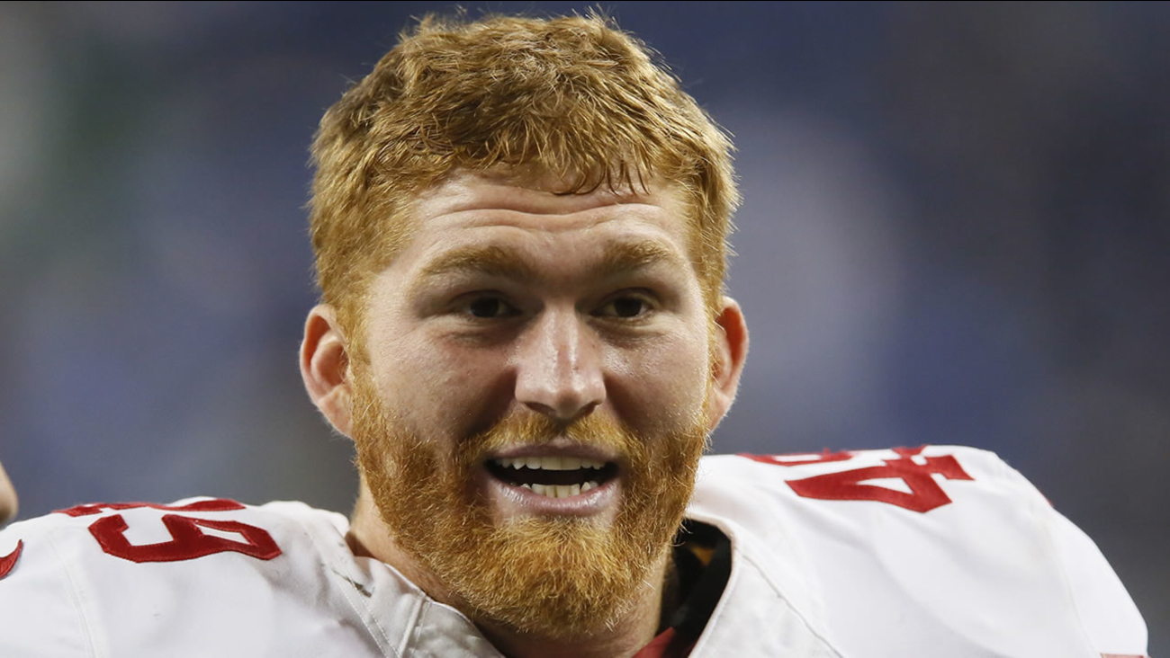 San Francisco 49ers fullback Bruce Miller (49) following an NFL football game against the Detroit Lions Sunday, Dec. 27, 2015, in Detroit. (AP Photo/Duane Burleson)