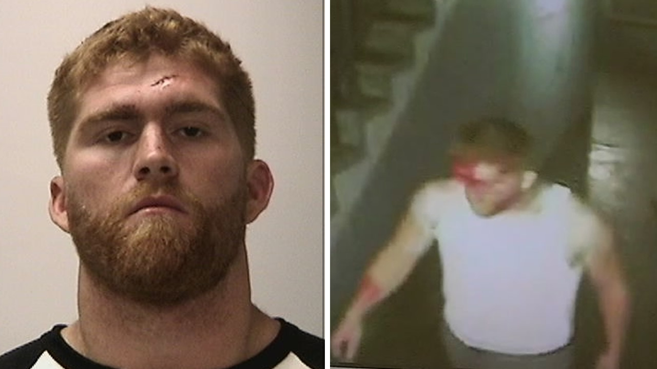 Bruce Miller's mugshot is seen on the left after he was arrested for assault in San Francisco on September 5, 2016. Surveillance video after the alleged assault is on the right.