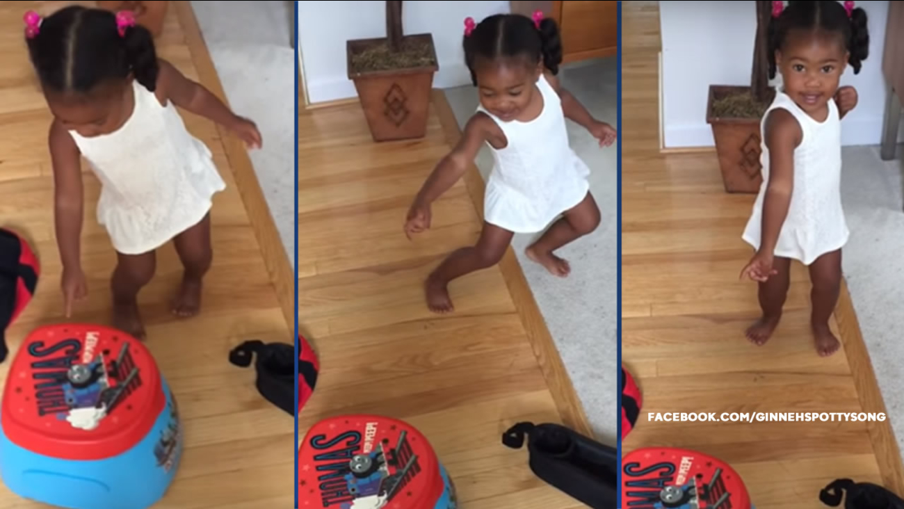 "Ginneh Wright, 2, is shown in a viral video called ""Potty Time,"" a song her mother created to help Ginneh learn to use the potty."
