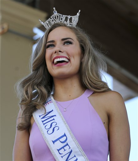 "<div class=""meta image-caption""><div class=""origin-logo origin-image none""><span>none</span></div><span class=""caption-text"">Miss Pennsylvania, Samantha Lambert is introduced during Miss America Pageant arrival ceremonies Tuesday, Aug. 30, 2016, in Atlantic City. (AP)</span></div>"