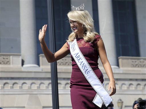 "<div class=""meta image-caption""><div class=""origin-logo origin-image none""><span>none</span></div><span class=""caption-text"">Miss Arkansas, Savvy Shields waves during Miss America Pageant arrival ceremonies Tuesday, Aug. 30, 2016, in Atlantic City. (AP)</span></div>"