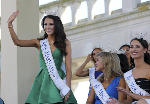 "<div class=""meta image-caption""><div class=""origin-logo origin-image none""><span>none</span></div><span class=""caption-text"">Miss Maryland, Hannah Brewer waves as she is introduced during Miss America Pageant arrival ceremonies Tuesday, Aug. 30, 2016, in Atlantic City. (AP)</span></div>"