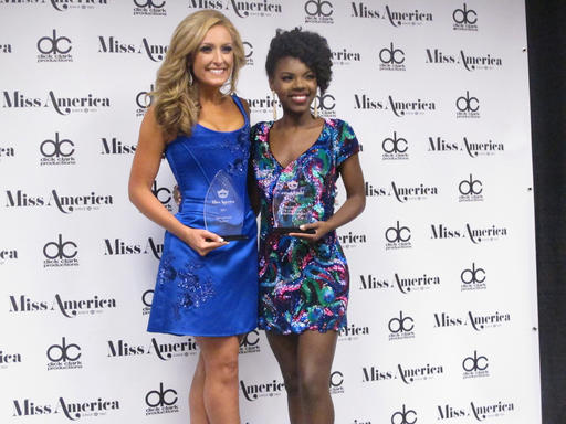 """<div class=""""meta image-caption""""><div class=""""origin-logo origin-image none""""><span>none</span></div><span class=""""caption-text"""">Miss Tennessee Grace Burgess, left, and Miss District of Columbia Cierra Jackson, right, speak with reporters after winning preliminary competitions, Tuesday, Sept. 6, 2016. (AP)</span></div>"""