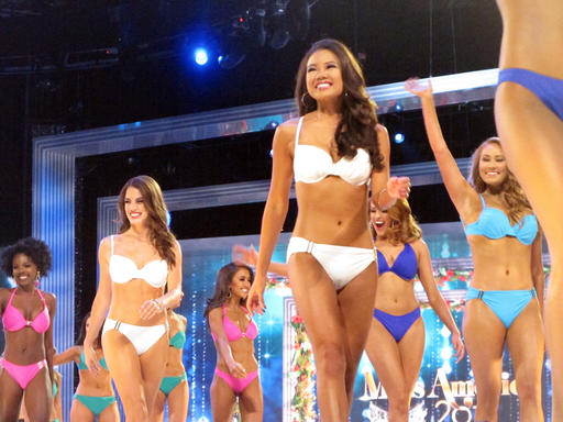 "<div class=""meta image-caption""><div class=""origin-logo origin-image none""><span>none</span></div><span class=""caption-text"">Contestants in the swimsuit portion of the Miss America pageant compete on the first night of preliminary competition in Atlantic City, Tuesday Sept. 6, 2016. (AP)</span></div>"