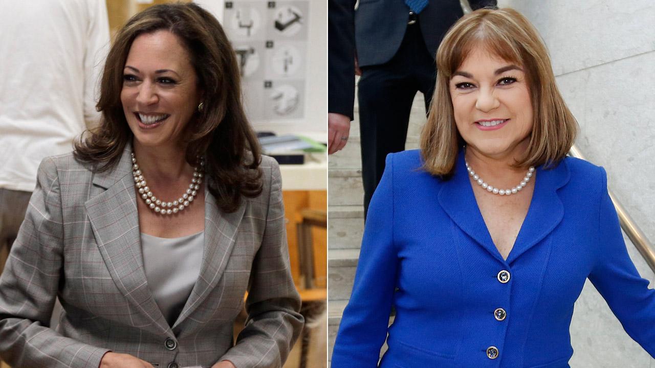 (L) California Attorney General Kamala Harris casts her ballot on June 7, 2016. (R) California Rep. Loretta Sanchez arrives at the DeRosa University Center on April 25, 2016.