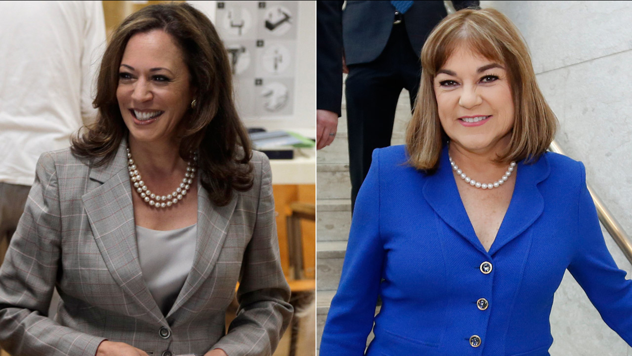 (L) California Attorney General Kamala Harris casts her ballot on June 7, 2016. (R) California Rep. Loretta Sanchez arrives at the DeRosa University Center on April 25, 2016.