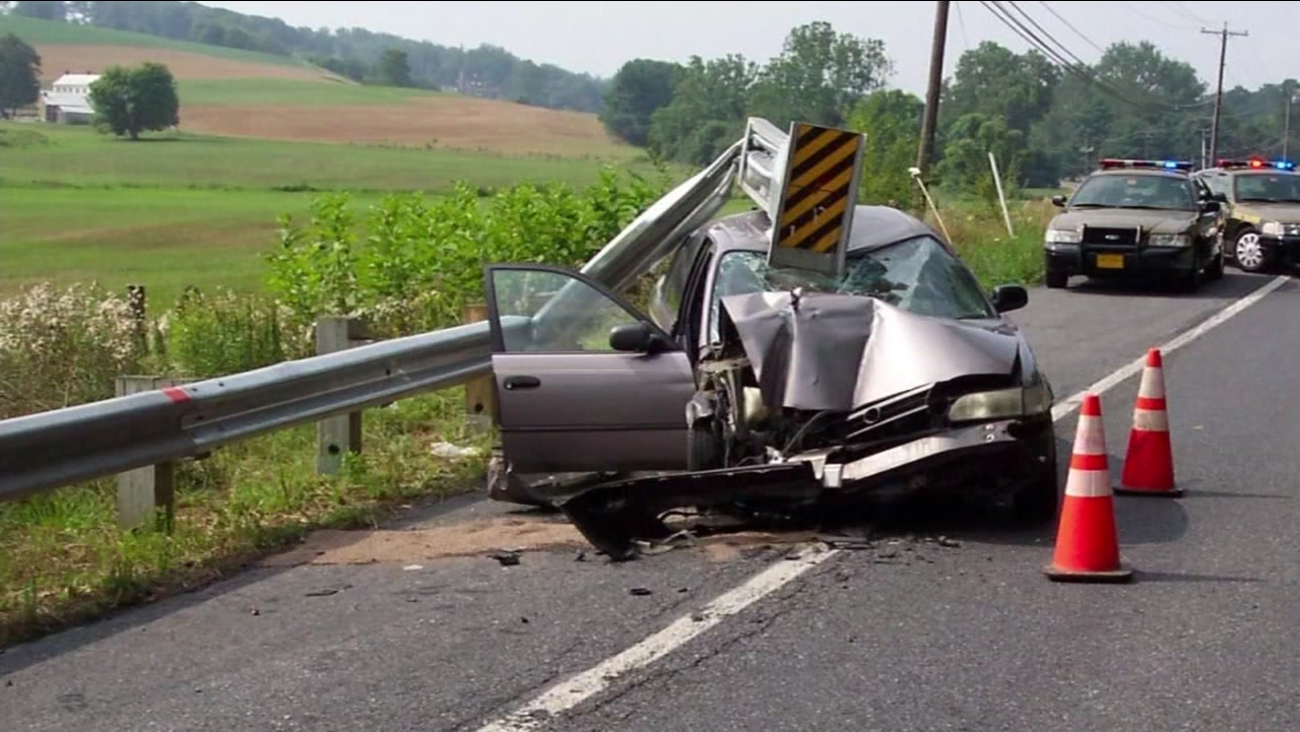 This undated image shows an accident involving the controversial ET-Plus guardrail system.