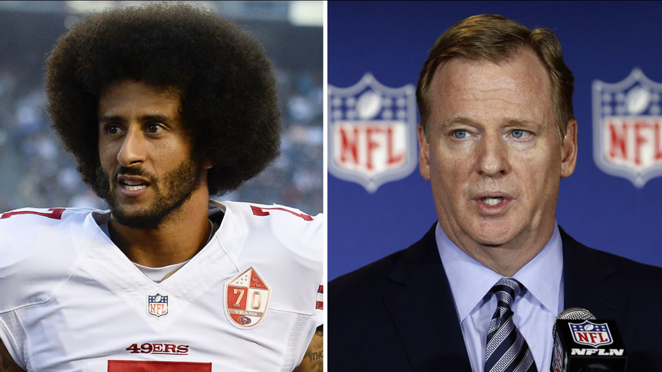 49ers quarterback Colin Kaepernick, left, is seen in San Diego on September 1, 2016 and NFL commissioner Roger Goodell, right, is seen in Charlotte, N.C. on May 24, 2016.