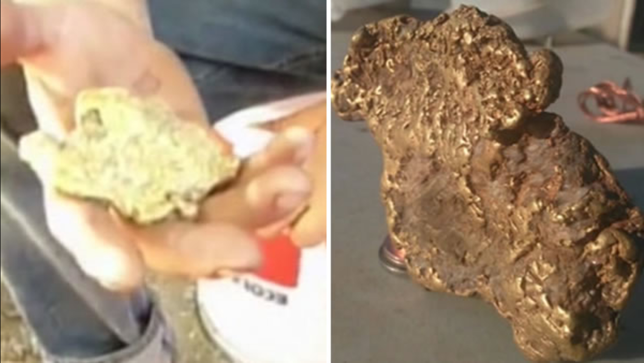 Mr. Espinoza shows off the gold nugget he found in the Central California foothills.