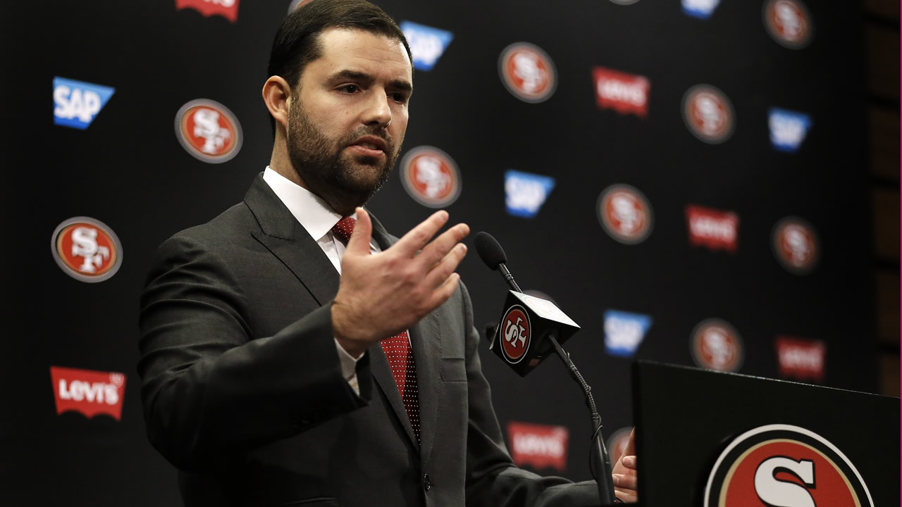 49ers Chief Executive Officer Jed York gestures while speaking to reporters during a media conference Monday, Jan. 4, 2016, in Santa Clara, Calif. (AP Photo/Ben Margot)