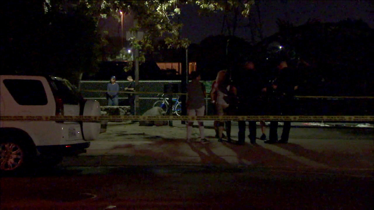 Los Angeles Police Department investigators responded after two bicyclists were shot and wounded in Elysian Park on Friday, Sept. 9, 2016.