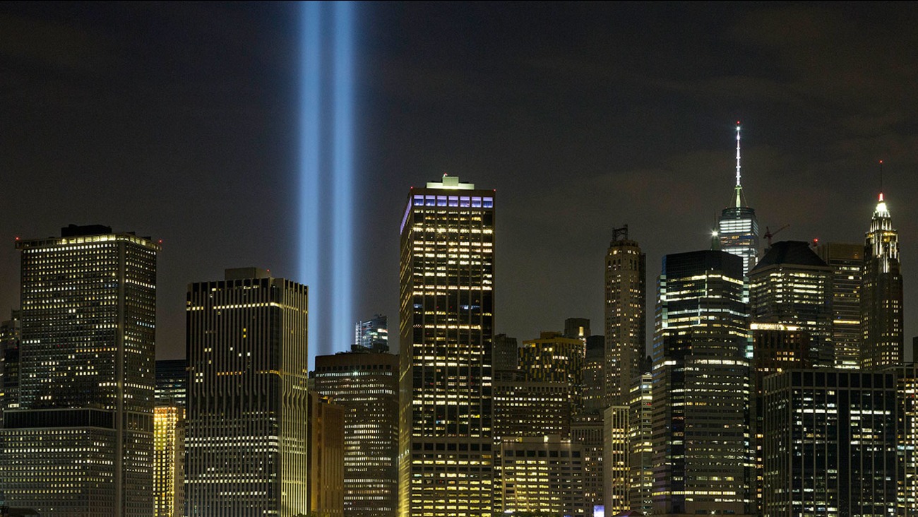 The Tribute in Light rises above the lower Manhattan skyline the day before the 15th anniversary of the Sept. 11, 2001 terrorist attacks.