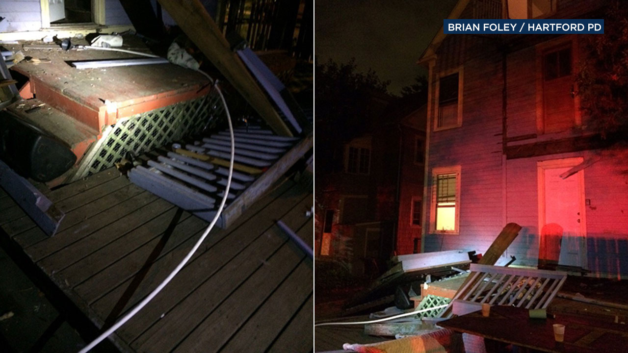 About 30-40 people were injured when a deck collapsed at an off-campus party at Trinity College in Connecticut. Police say a 3-story beer bong (left) was found in the wreckage.