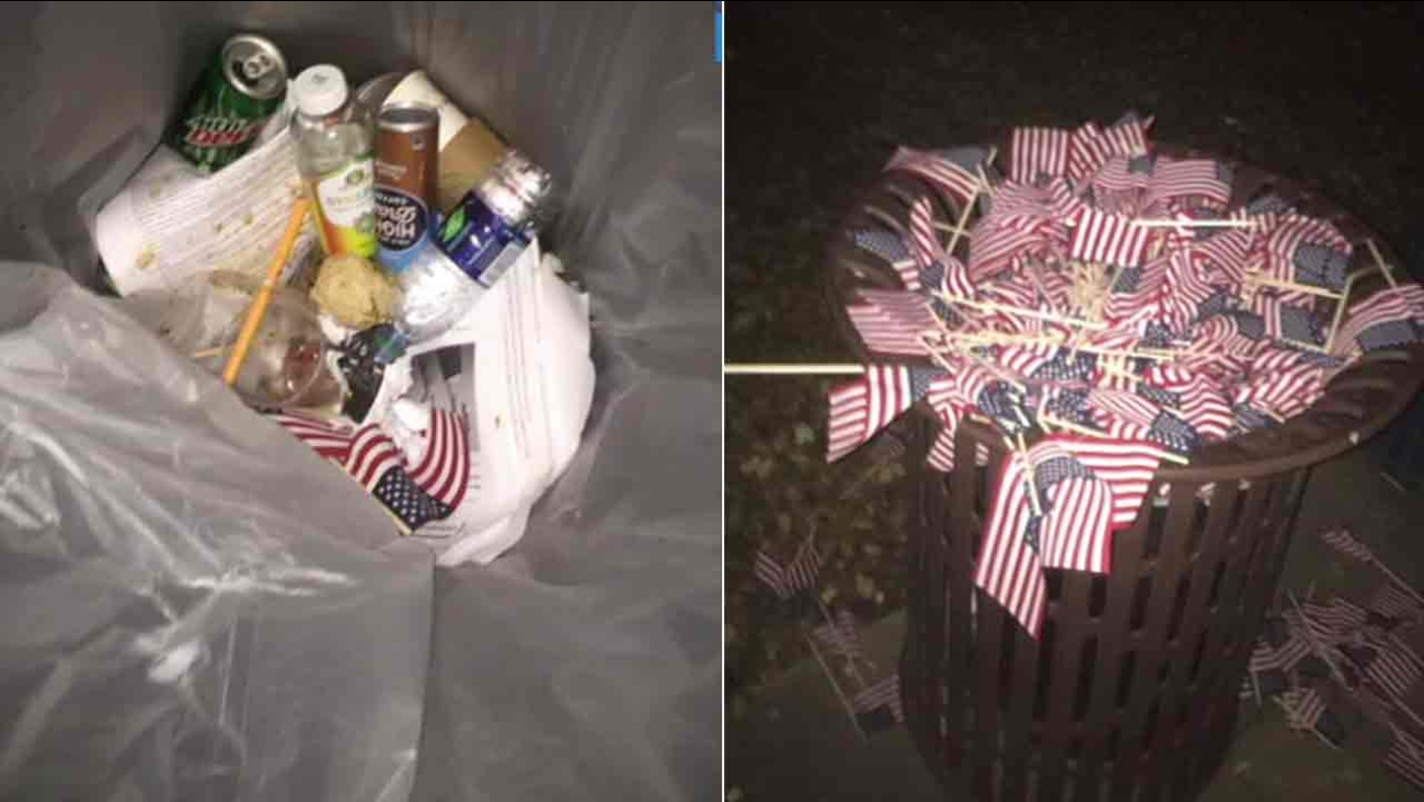 Photos show American flags tossed in trash cans at a 9/11 memorial at Occidental College in Eagle Rock on Sunday, Sept. 11, 2016.