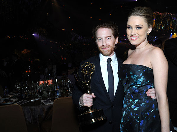 "<div class=""meta image-caption""><div class=""origin-logo origin-image none""><span>none</span></div><span class=""caption-text"">Seth Green, winner of the award for for outstanding short form animated program for ""Robot Chicken"", left, and Clare Grant attend the Governors Ball during the Creative Arts Emmys (Richard Shotwell/Invision/AP)</span></div>"