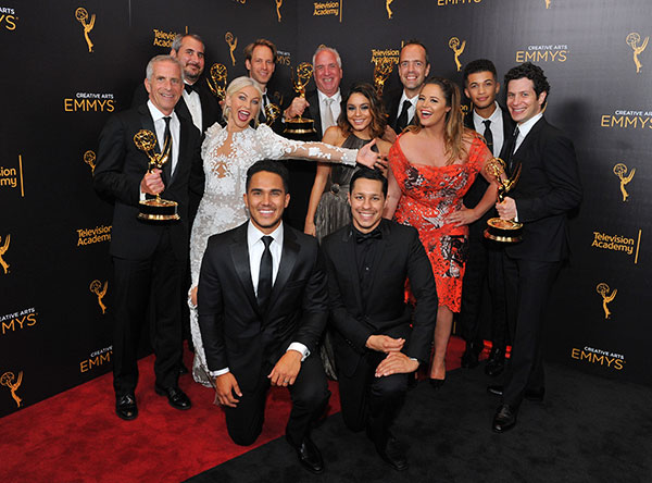 "<div class=""meta image-caption""><div class=""origin-logo origin-image none""><span>none</span></div><span class=""caption-text"">Members of the cast and creative team of ''Grease: Live'' pose for a portrait during night two of the Television Academy's 2016 Creative Arts Emmy Awards. (Vince Bucci/Invision for the Television Academy/AP Images)</span></div>"