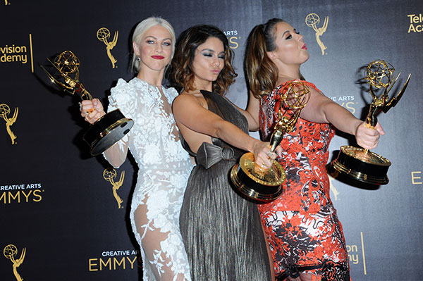 "<div class=""meta image-caption""><div class=""origin-logo origin-image none""><span>none</span></div><span class=""caption-text"">Julianne Hough, from left, Vanessa Hudgens, and Kether Donohue pose in the press room with their awards for outstanding special class program for ""Grease: Live"" (/AP Photo)</span></div>"