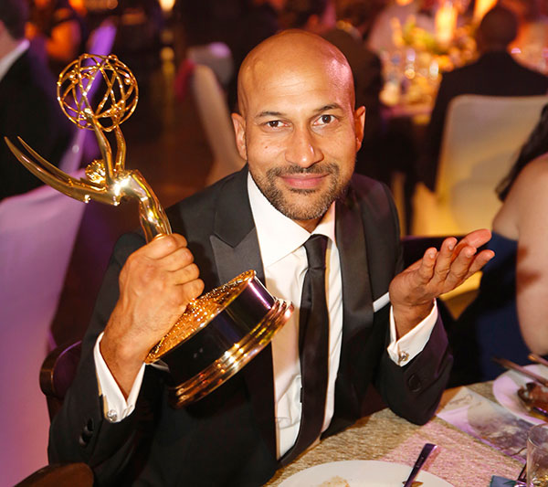 "<div class=""meta image-caption""><div class=""origin-logo origin-image none""><span>none</span></div><span class=""caption-text"">Keegan-Michael Key poses with the award for outstanding makeup for a multi-camera series or special (non-prosthetic) at the Governors Ball (Colin Young-Wolff/Invision for the Television Academy/AP Images)</span></div>"