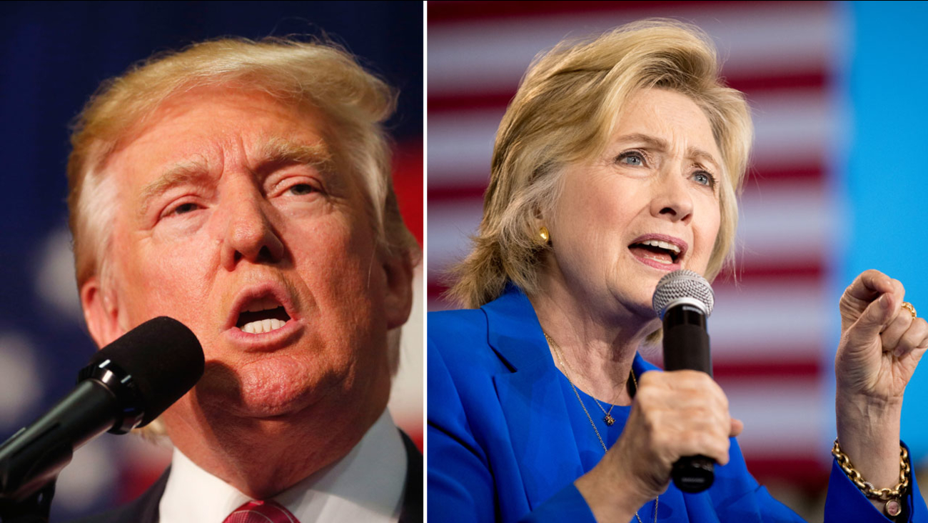 Presidential nominees Donald Trump and Hillary Clinton are shown in campaign photos.