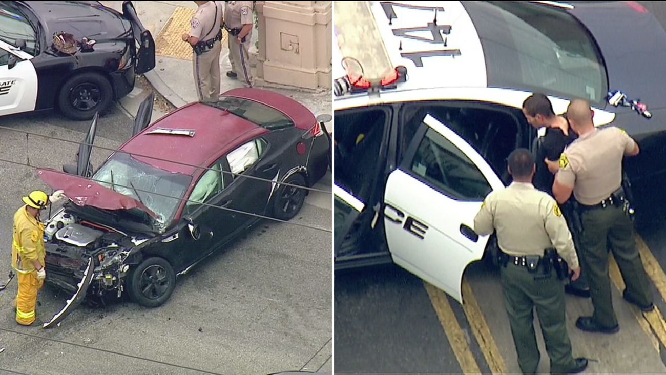A police chase that started in South Gate ended in a crash in Alhambra on Monday, Sept. 12, 2016.
