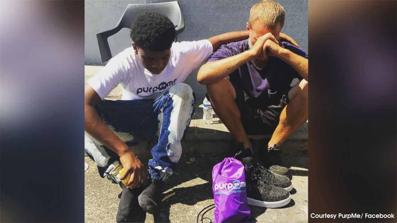 Teen gives shoes to homeless man as part of effort to 'overshadow violence' in neighborhood