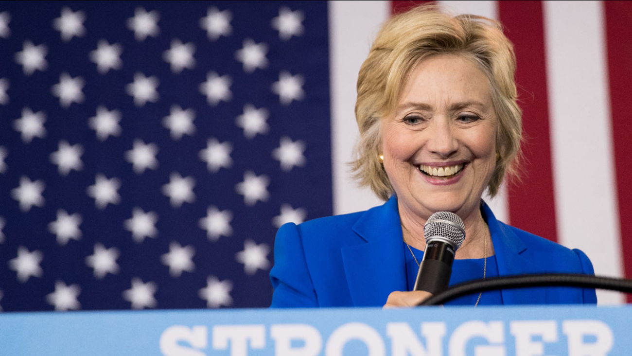 In this Thursday, Sept. 2016 file photo, Democratic presidential candidate Hillary Clinton pauses while speaking at a rally at Johnson C. Smith University, in Charlotte, N.C.