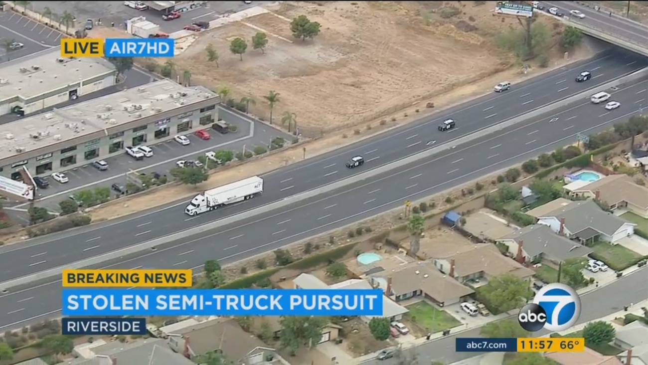 CHP officers chase a reportedly stolen semi-truck across multiple cities in the Inland Empire on Tuesday, Sept. 13, 2016.