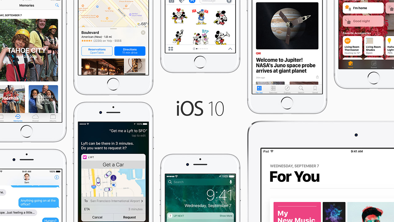 Apple iOS 10 update screenshots.