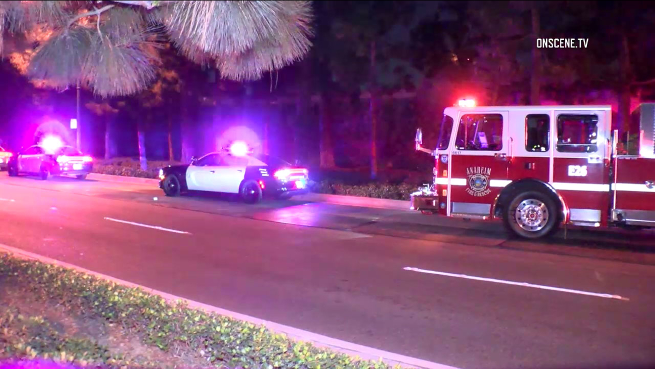 Police and firefighter-paramedics responded after two people were stabbed within half a mile of each other Thursday evening in Anaheim.