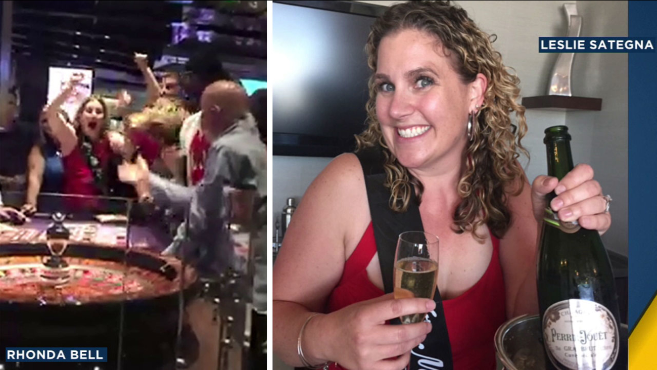 Leslie Sategna, 36, is shown celebrating her birthday and her three-peat win using the same bet at midnight in Las Vegas on Friday, Sept. 16, 2016.